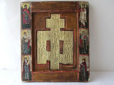 """Antique 19c Russian Orthodox Hand Painted Wood Icon """"The Crucifixion of Christ"""""""
