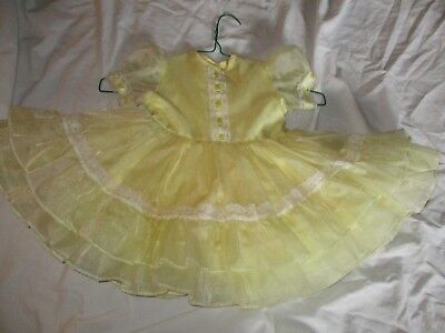 Vtg. Baby Toddler Girl's Dress, Fancy Party Dress  Yellow Lace Ruffle Sz 2/3T