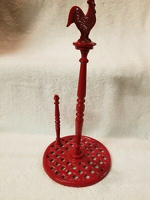 Home Basics Cast Iron Red Rooster Paper Towel Holder