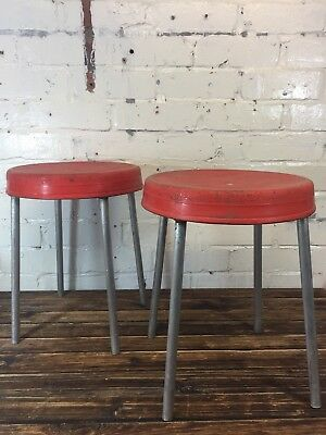 Pair of Vintage Plastic Stools Made in Poland Outdoor Chairs