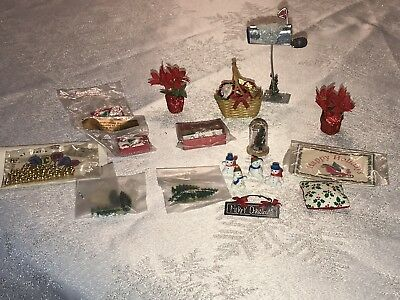 Miniature Dollhouse Christmas Balls Mailbox Poinsettias Trees Decoration Lot