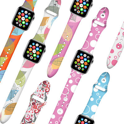 Replacement Patterned Silicone Watch Band Strap for Apple Watch Series 4/3/2/1