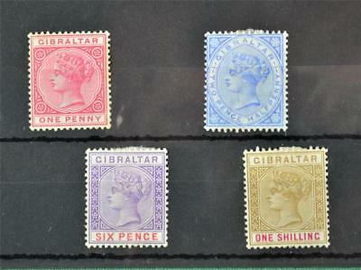 Gibraltar 4 Victorian 1898 Stamps To 1/-  H/m   (Y119)