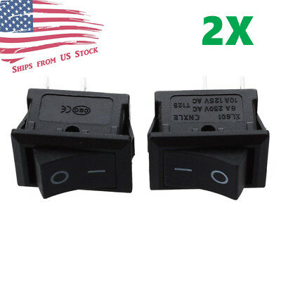 2PCS Mini Rocker Switch 2 PIN ON-OFF SPST 125VAC/6A 250VAC/3A Black 117S US