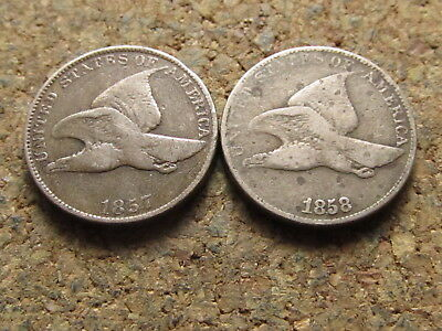 1857 1858 Flying Eagle Small Cent Penny Lot - Two Coin Set