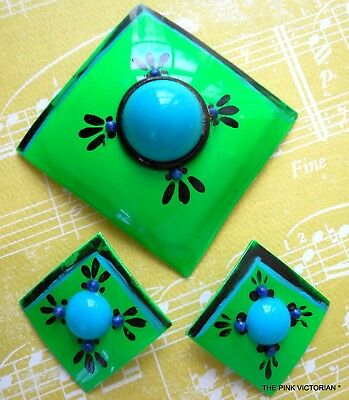Vintage Flower Pin,Vivid Kelly Green Hand Painted Bold Floral,Matching Earrings