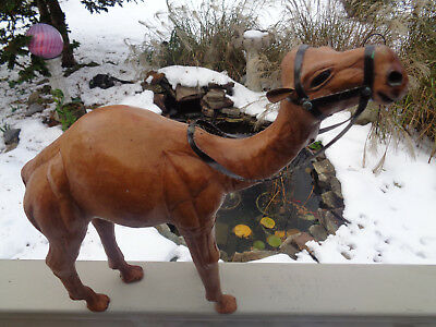 """Vintage Handmade Leather Wrapped Camel w Reins 13"""" X 12"""" statue Nativity"""