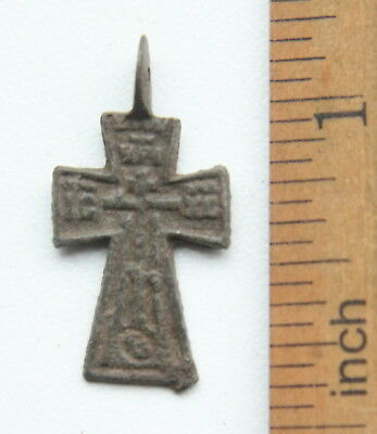 Ancient Russian Ortodox Bronze Cross Pendant (MAR01)