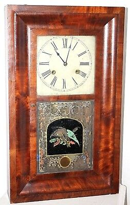 Antique 1860's Chauncey Jerome Weight Driven Mahogany Ogee Clock W/ Wood Dial.