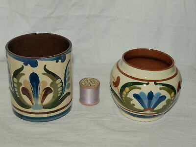 2 Antique Torquay Pottery Tobacco Jars (No Lids) With Scandy & Motto Decoration
