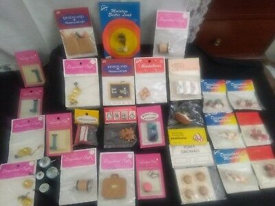 HUGE Lot of Vintage Dollhouse Miniature Accessories NEW IN PACKAGES! lot 1