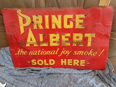 Early Vintage PRINCE ALBERT TOBACCO Metal Advertising Sign *Barn Find*