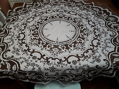 Antique Vintage Madeira Tablecloth Hand Embroidery Cutwork Circular Christmas Di