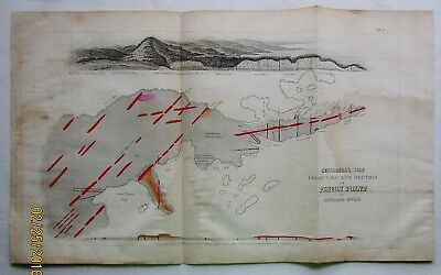 Pigeon Point Minnesota 1852 Hand Colored Geological Map Shore Line View