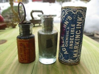 Antique Ink Bottle Lot Carters stamping Ackermann's Marking Ink With Labels