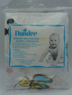 Vintage Disney Dundee Mickey Minnie Mouse Stretch End Crib Sheet NEW