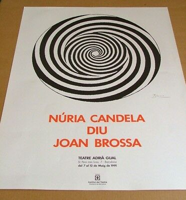 Joan BROSSA litho ABSTRACT print poster 1991 OP ART POP rare vintage BIG