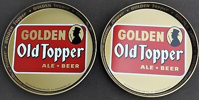 2 Vintage Golden Old Topper Ale Beer Trays Rochester Ny Canco Sticker Nice