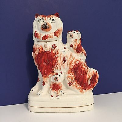 Antique Staffordshire Figure Dog Red/White Terrier 2 Pups, One Pup Waving c.1860