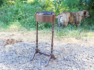 Antique Rustic Victorian Farmhouse Garden Planter Wood Zinc Fern Plant Stand