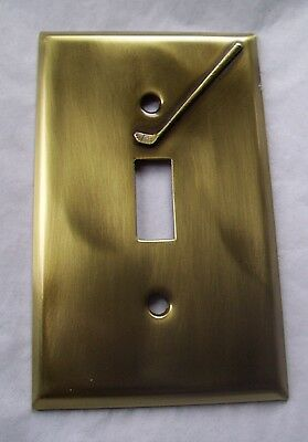 Light Switch Plate Cover  Brass Single Toggle -GOLF CLUB DESIGN