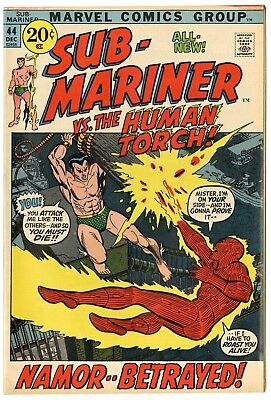 Sub-Mariner #44 VF/NM 9.0 ow/white pages  Human Torch  Marvel  1971  No Reserve