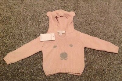 Brand New The Little White Company Pale Pink Bear Face Hoodie Newborn