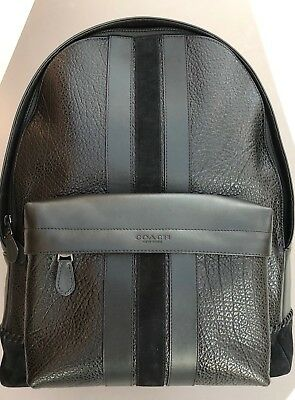 New Coach F11250 Charles Backpack With Baseball Stitch Black Leather NWT   595 3aec342b6dea3