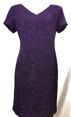 Jessica Howard Sz 12 Dress Beaded Purple Evening Formal Mother of Bride S/S