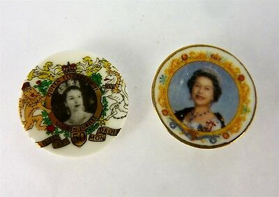 Werth Estate Sale Dollhouse Miniature 2 Queen Elizabeth Plates Lot
