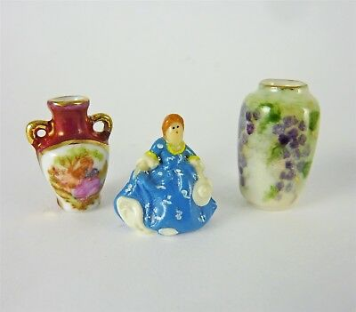 Werth Estate Sale Dollhouse Miniature 2 Vases & Lady Figurine, Signed