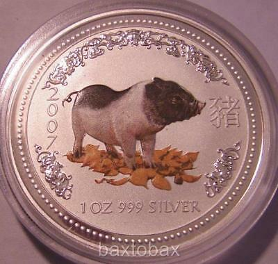 2007 AUSTRALIAN *COLOR* LUNAR YEAR OF THE PIG  1 oz  SILVER COIN *BU* ~ Series 1
