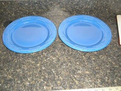 "Longaberger Pottery Woven Traditions Pair (2) Cornflower Blue 10"" Dinner Plates"