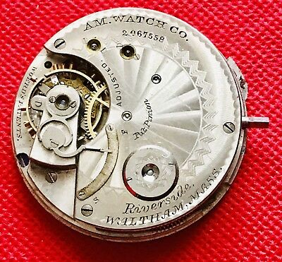 Antique Amc Waltham Riverside American Pocket Watch Movement For Spare/repairs