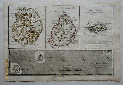 Map French Islands Indian Ocean 1780 Reunion Mauritius Rodrigues R. Bonne