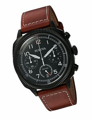 Bulova Military Men's UHF Watch with Black Dial Analogue Display and Brown Le...