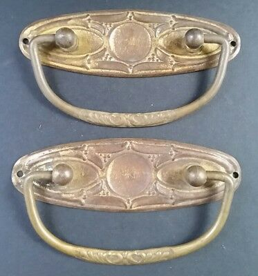 """Pair Antique Vintage Classic French Oval Bail Pulls Handles brass 4""""w #Z9"""