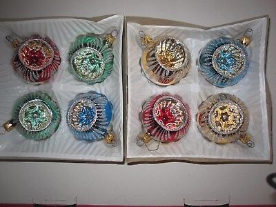 Lot of 8  Vintage ROUND INDENTED Glass CHRISTMAS ORNAMENTS