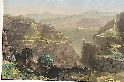 The Monastery of Santa Saba Mar Betlehem 1840 Original Antique Print Allom