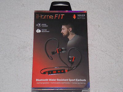 iHOME FIT WIRELESS VOICE CONTROL BLUETOOTH WATER RESISTANTS SPORT EARBUDS *NEW*