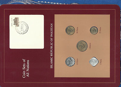 Coin Sets of All Nations Pakistan w/card 1984-1986 UNC 1 Rupee 50,25 Paisa 1986