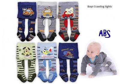 BABY BOYS CRAWLING TIGHTS ANTI SLIP SOLE PANTS RUBBERIZED KNEES COTTON  3-18 mth