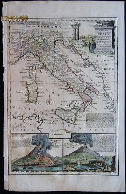 Accurate Map Of Italy 1747 Emanuel Bowen Erupting Volcanoes Aetna Vesuvius