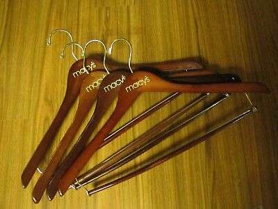 MACYS Wood Hanger for Suits & Pants with Pants Bar  Excellent LOT of 4