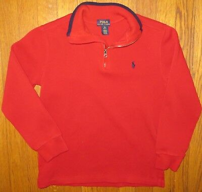Ralph Lauren Polo boys 10-12 (M) red cotton w/navy blue trim sweater shirt~NICE!