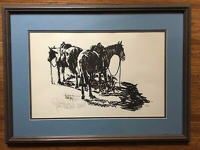 Horses Framed Art Lithograph by Western Artist Buck Taylor, Signed And Numbered