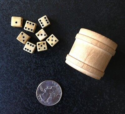 Antique vintage small wooden round box barrel w/ 8 miniature bone? dice game