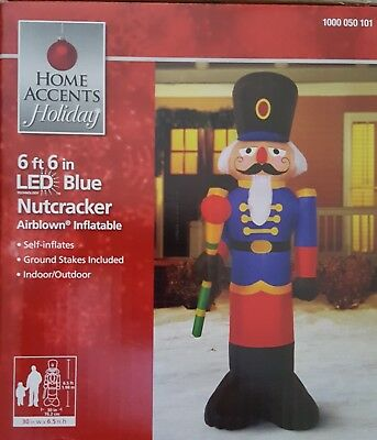 Gemmy Airblown Inflatable Christmas Blue Nutcracker Toy Soldier 6.6 Ft Tall Nib