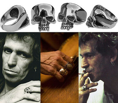 Keith Richards Style Skull Ring. Keef Rolling Stones Accessory. Surgical Steel.