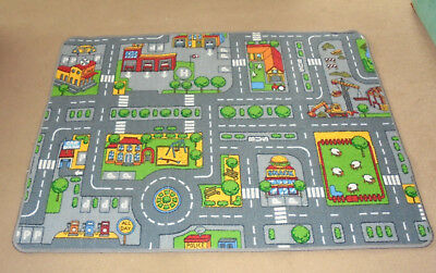 "Large Cars  Activity Play Mat / Rug. Hessian Backed 51"" x 37"" approx"